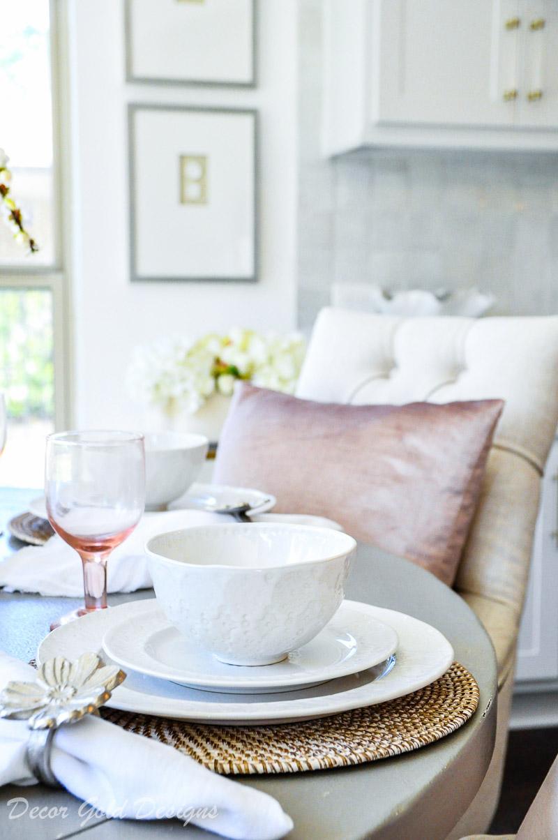 Breakfast nook spring decor blush white