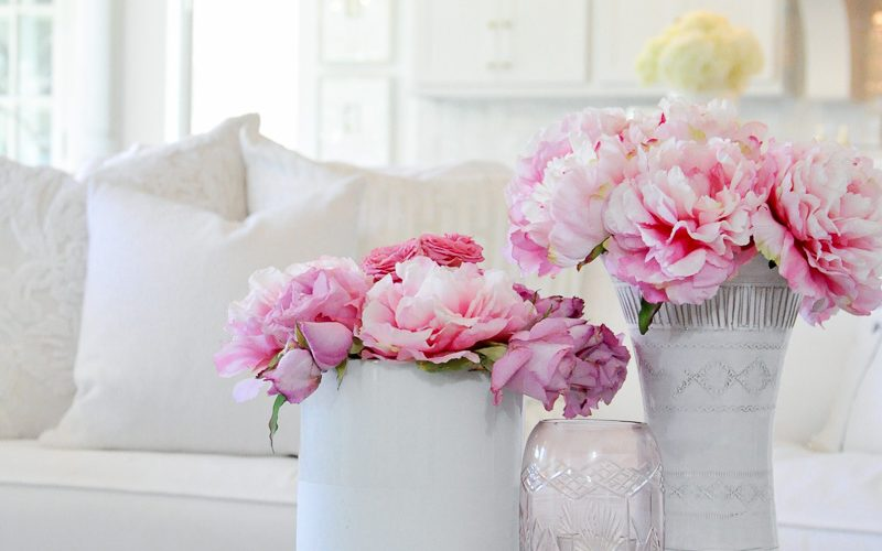 faux pink peonies white vases decor
