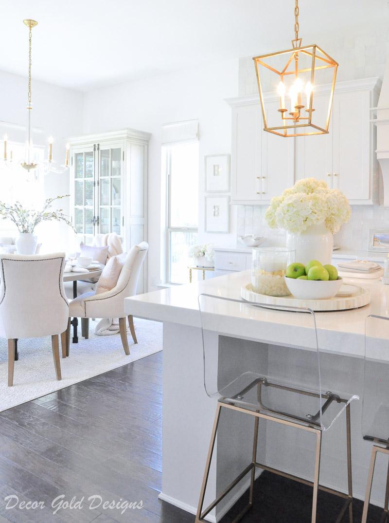 kitchen breakfast nook bright white decor gold accents