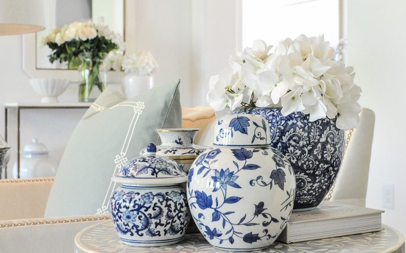spring home tour blue and white ginger jars