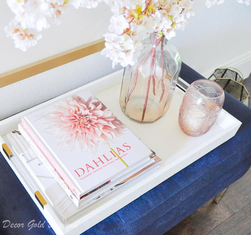 Velvet bench white tray decorative accessories