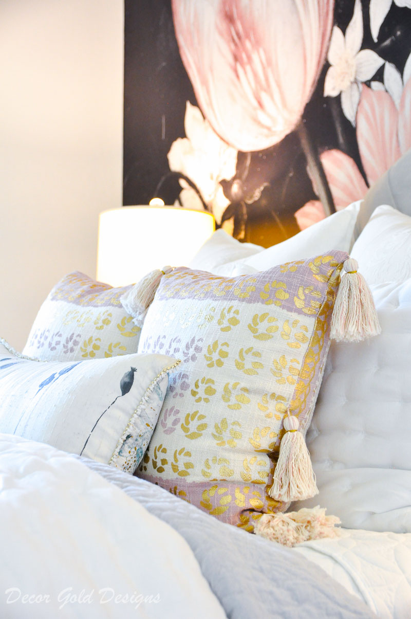 Tassel pillows bed