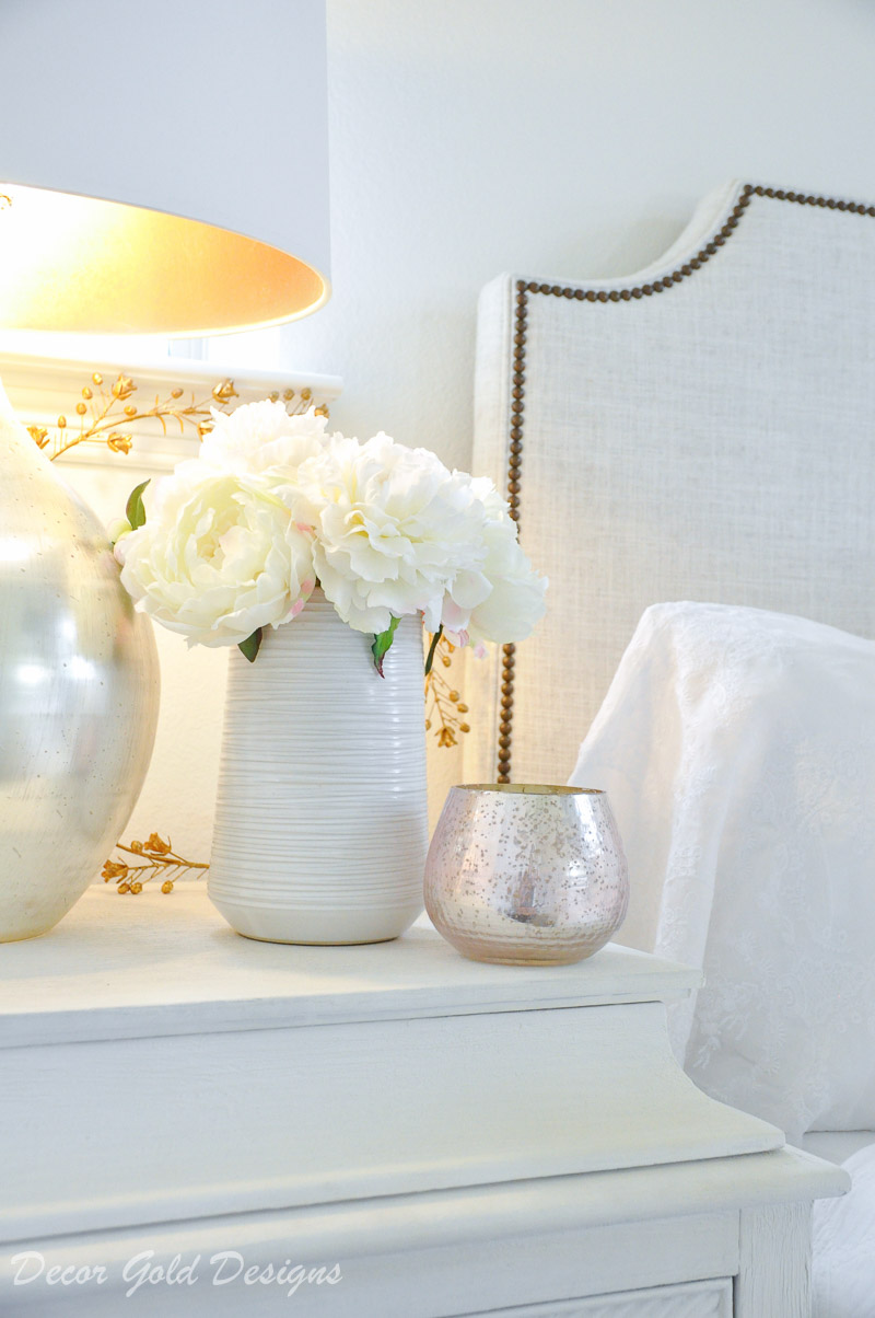 white vase faux peonies nightstand decor