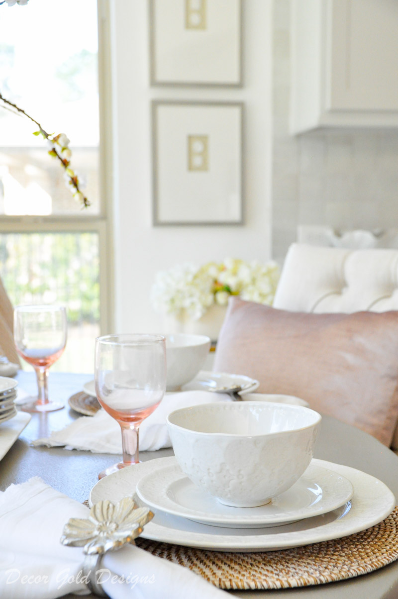Round breakfast table blush white tablescape details