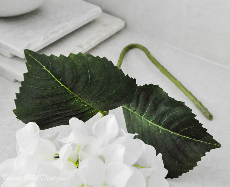Faux flower stem leaves