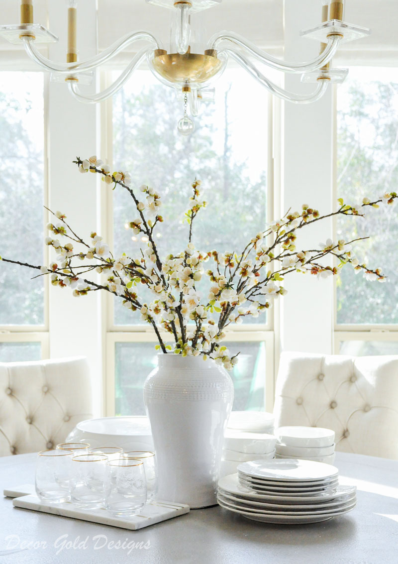 faux flowers branches tall vase