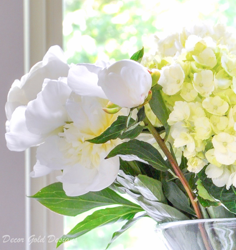Faux flowers comparison peonies hydrangeas