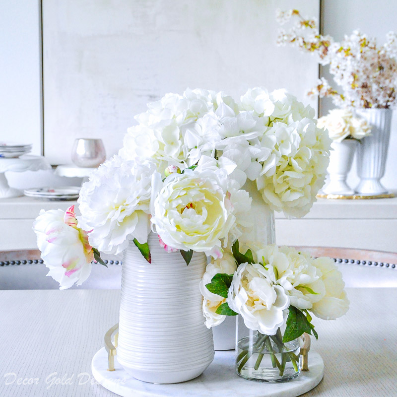 Faux flowers hydrangeas peonies white marble tray