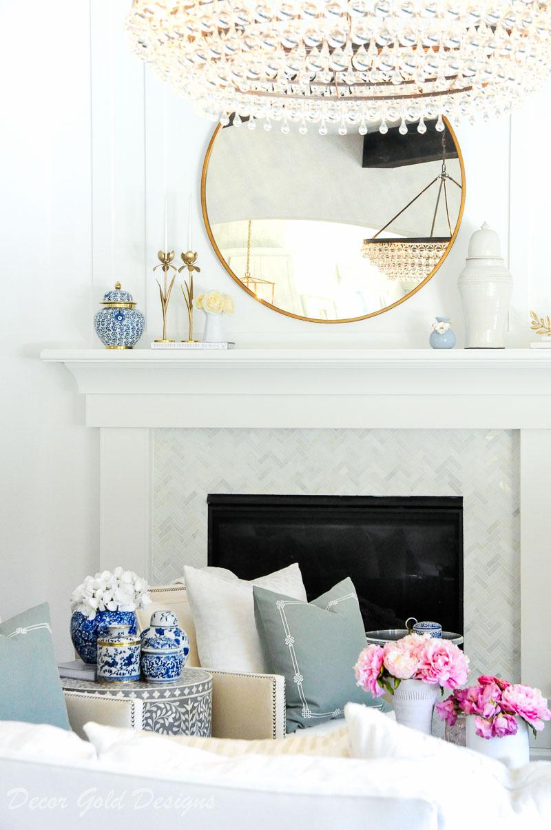 faux flowers living room mantel decor