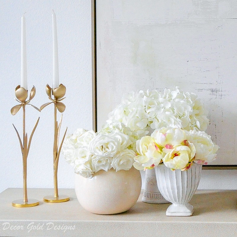 Faux flowers white vases grouping