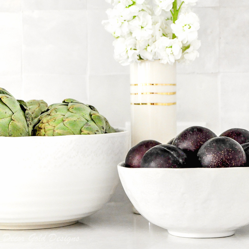 kitchen counter styling ideas produce filled bowls
