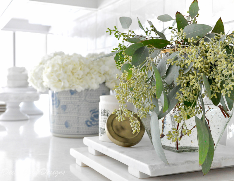 kitchen countertop styling ideas decorative accessories vase greenery