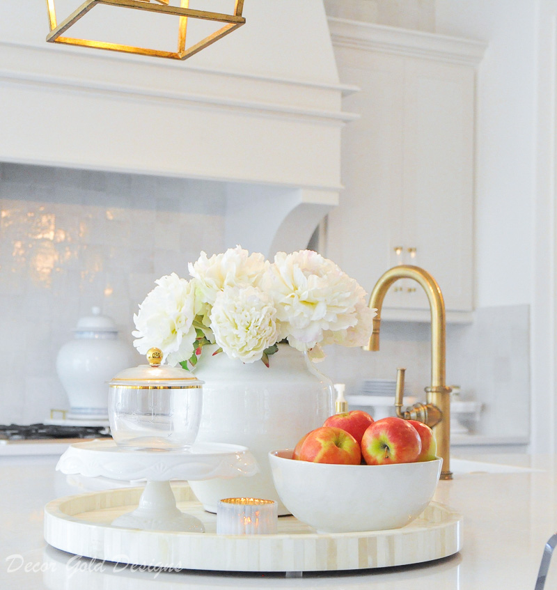 Kitchen countertop styling ideas vignette bowl fruit vase flowers
