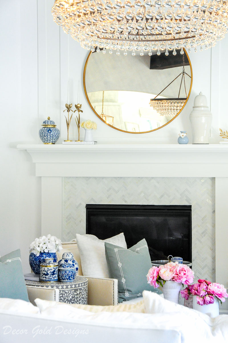 Faux flowers living room mantel decor