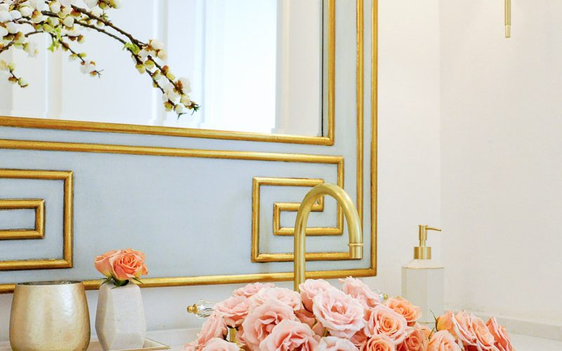 Powder bath decor gold designs