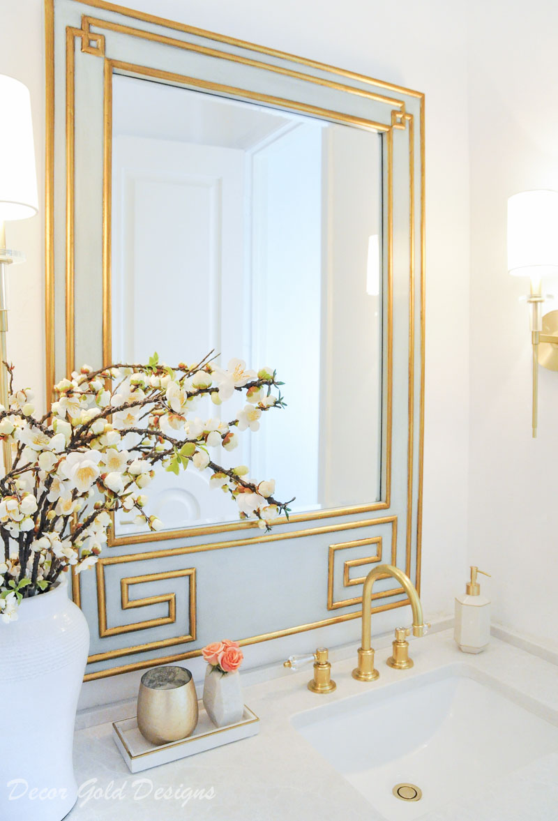 Powder bathroom beautiful greek key mirror