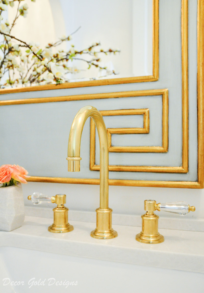 Powder bathroom polished brass faucet crystal handles
