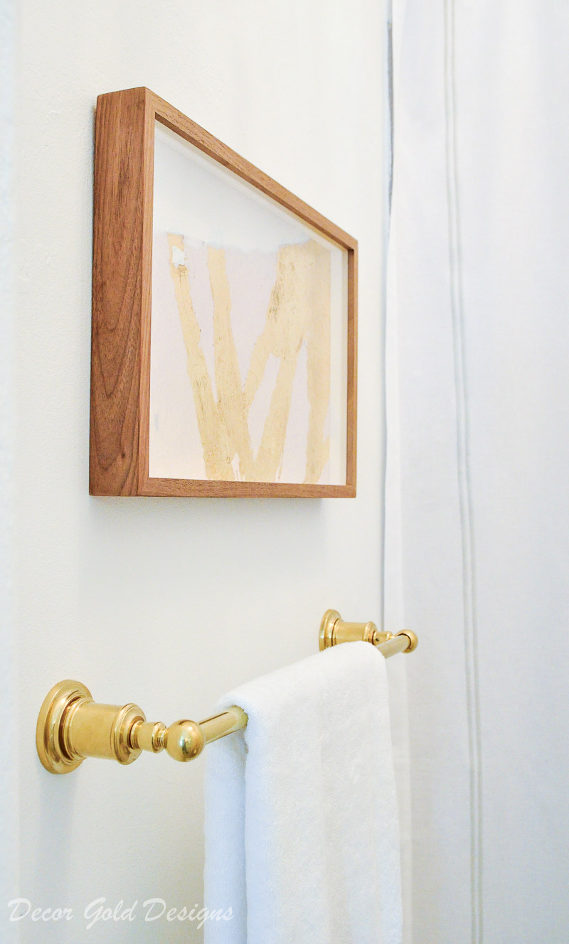 powder bathroom pink art brass towel bar