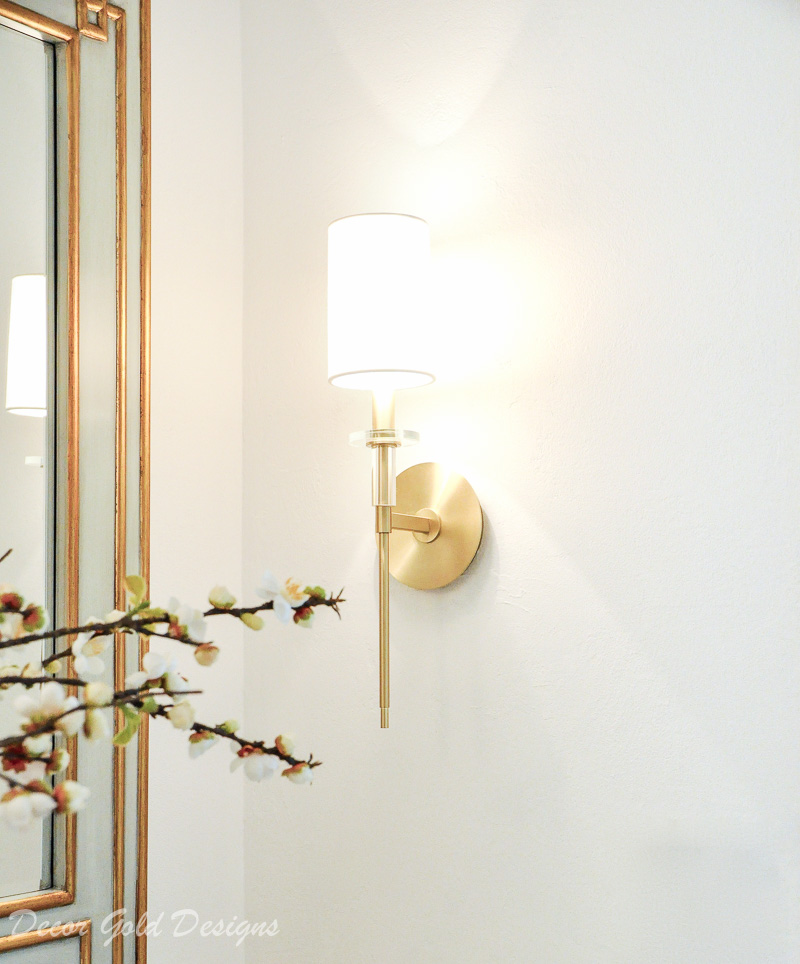 Powder bathroom brass wall sconce timeless