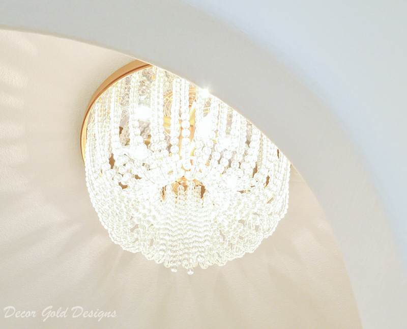 Powder bathroom elegant beaded flush mount light