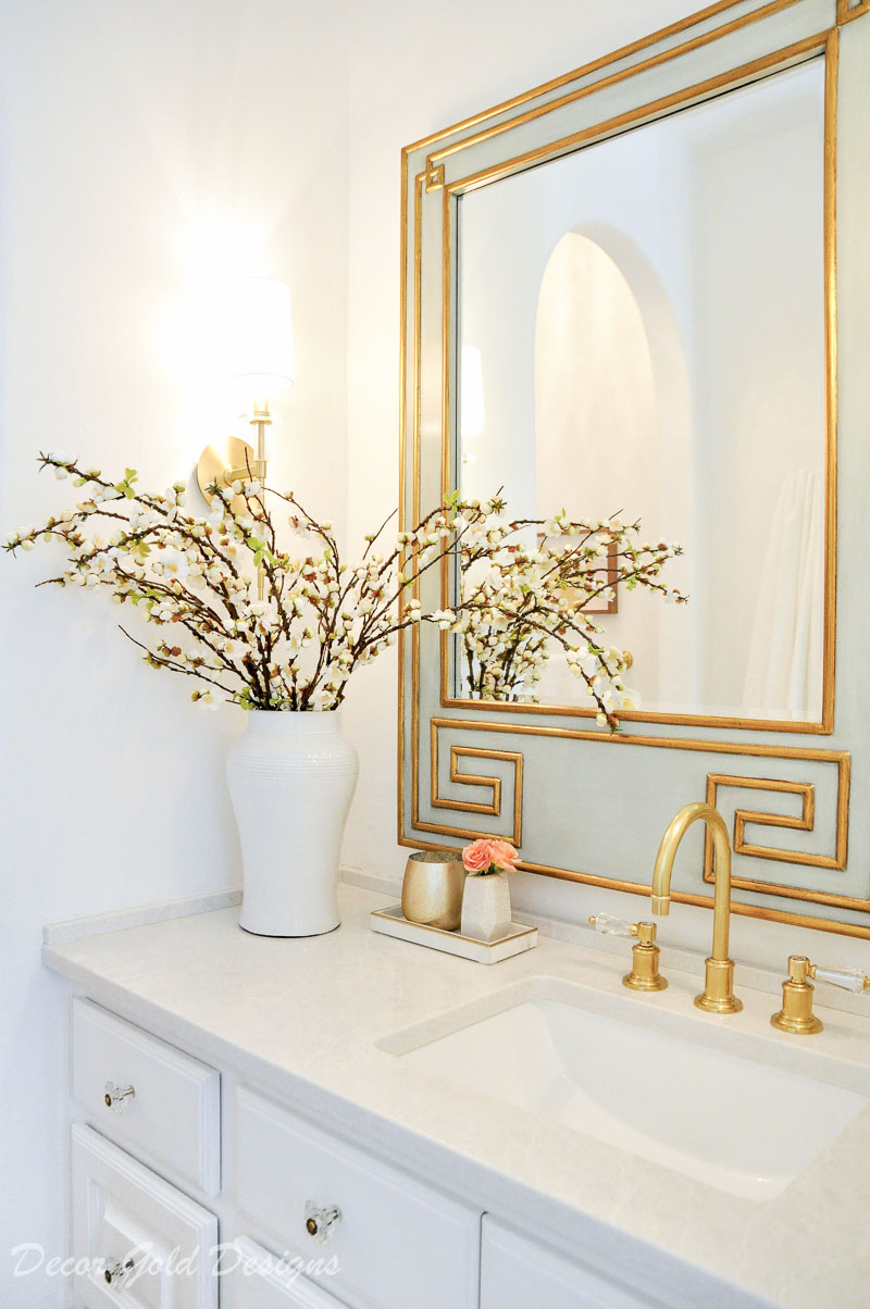 Elegant powder bathroom beautiful greek key mirror