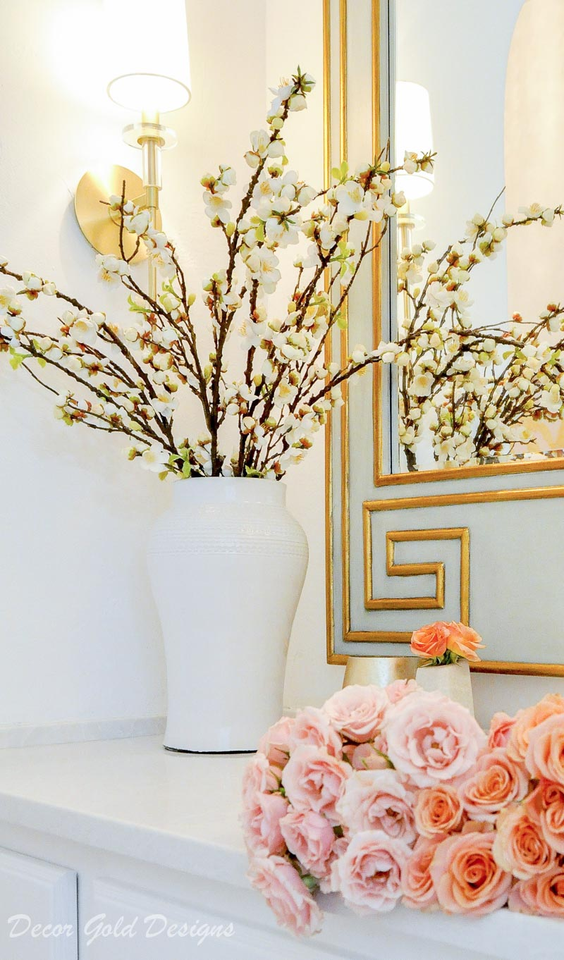 Powder bathroom transitional design update beautiful jar filled branches