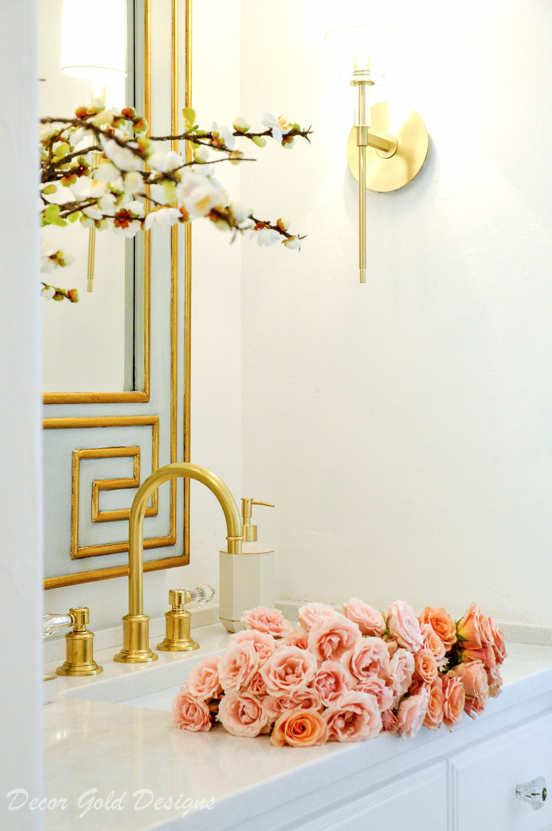 Powder bathroom white walls beautiful brass accents