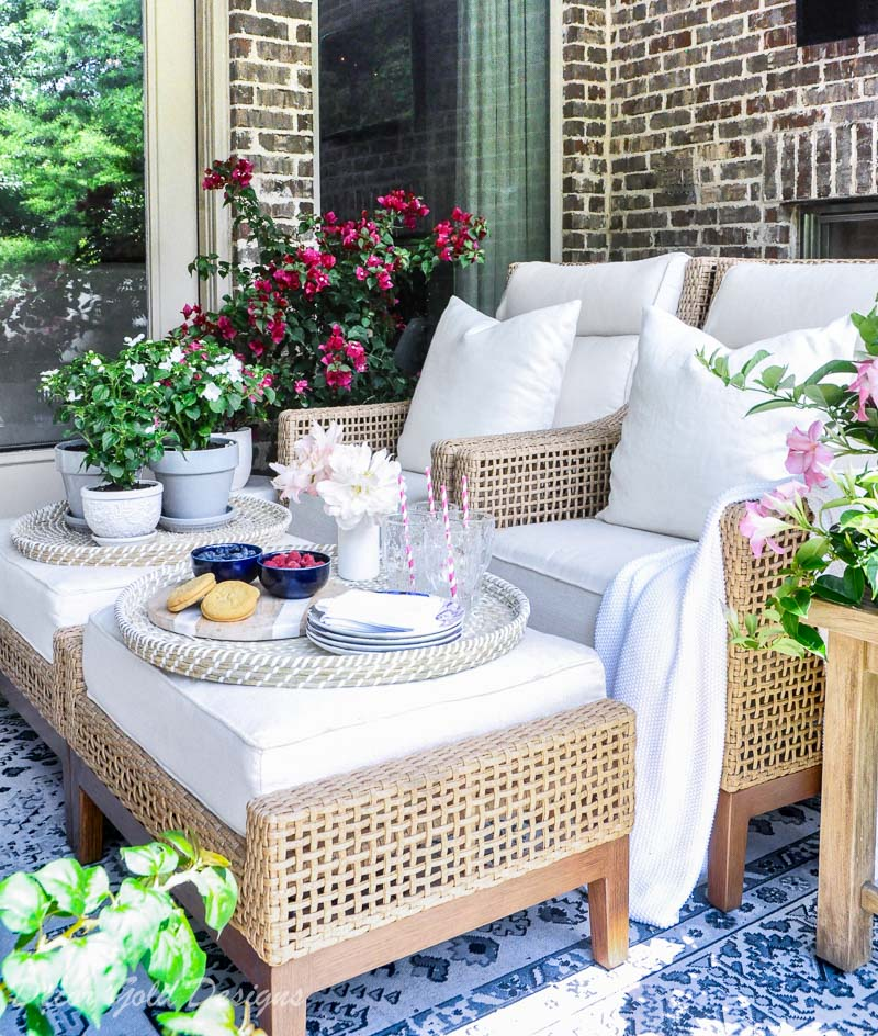 Summer patio reveal beautiful chairs ottomans