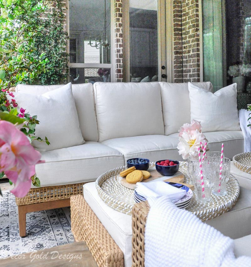 Summer patio reveal beautiful sofa