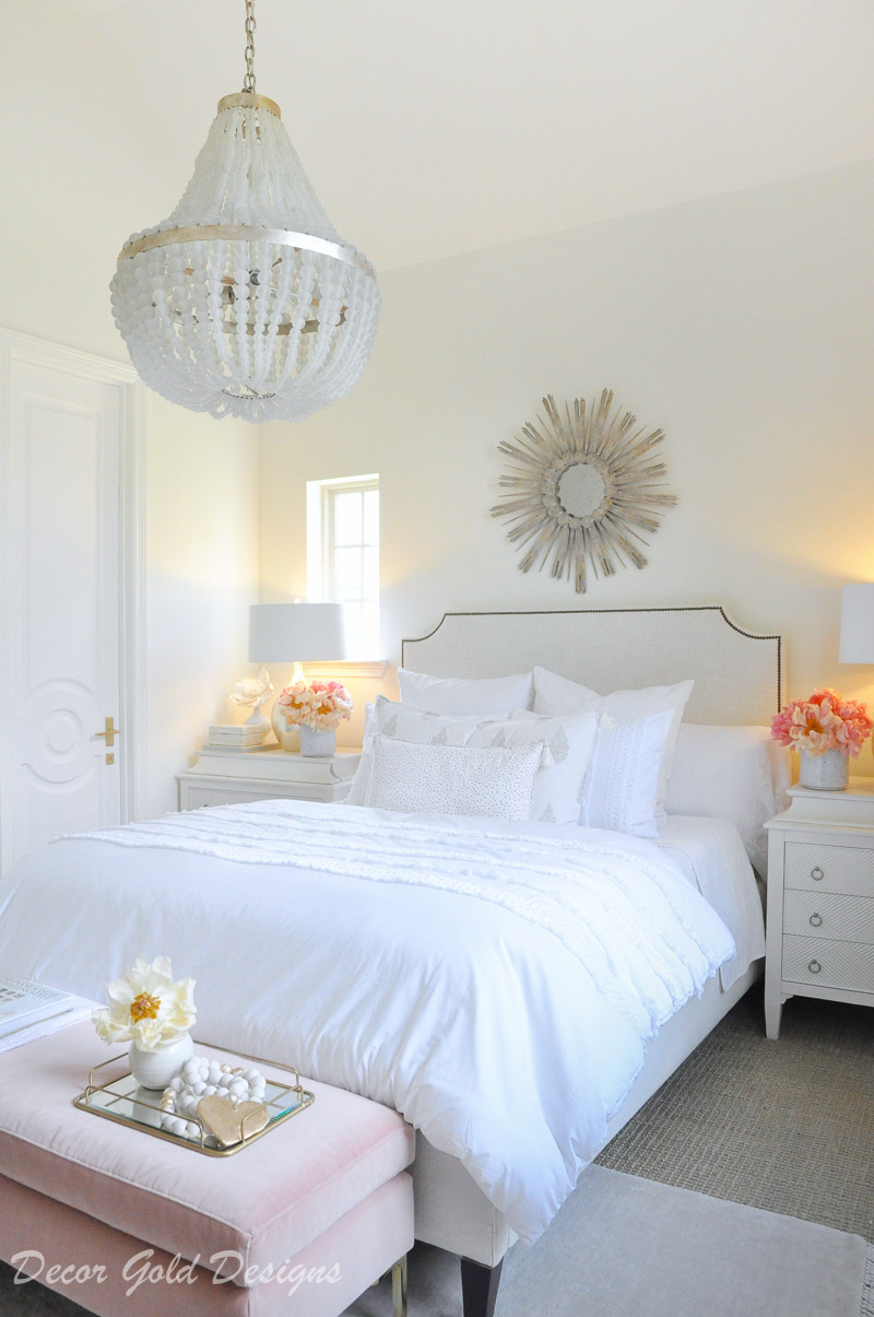 Create a beautiful designer bedroom white beaded chandelier