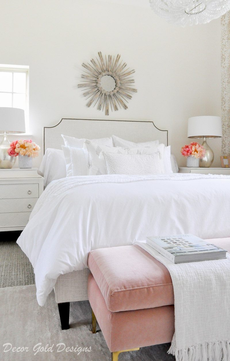 beautiful designer bedroom starburst mirror white bed