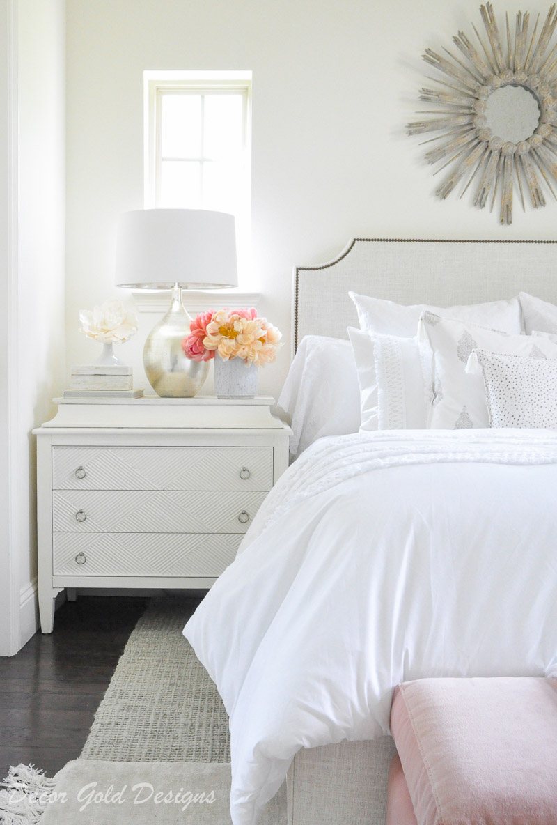beautiful designer bedroom white bedding nightstand
