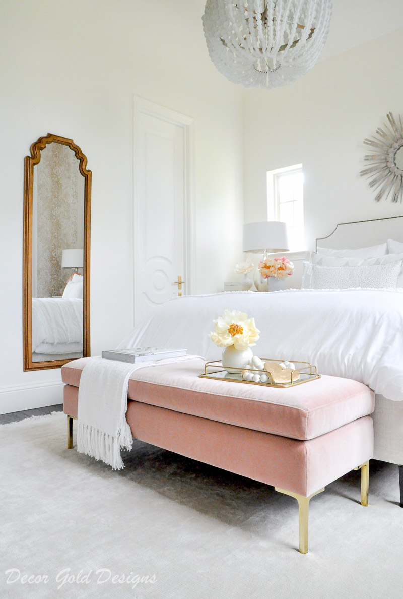 Beautiful designer bedroom white bedding pink velvet bench