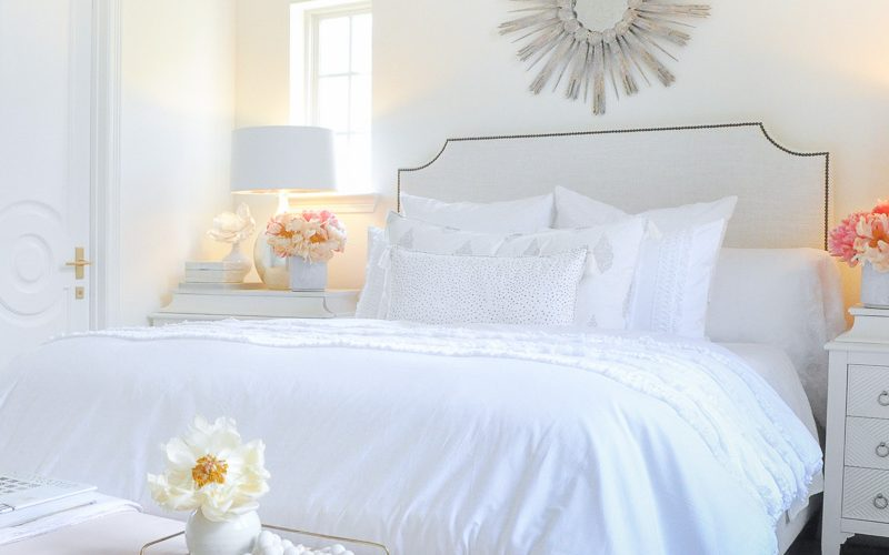 Beautiful designer bedroom white color scheme