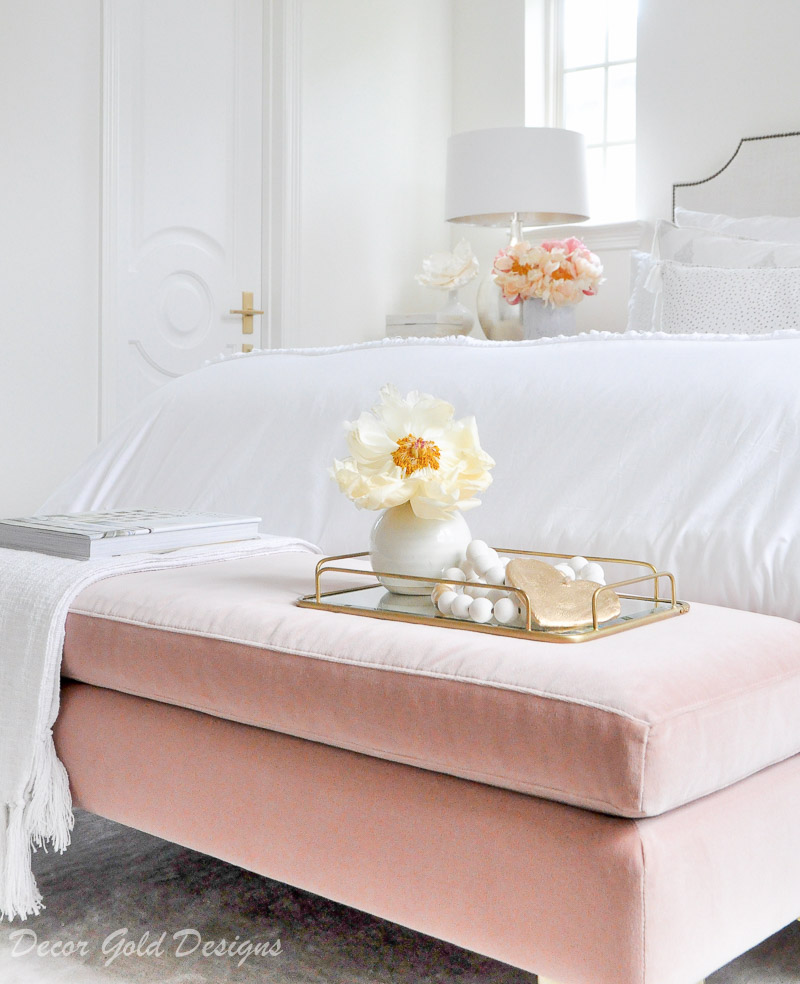 Beautiful designer bedroom white color scheme blush pink bench