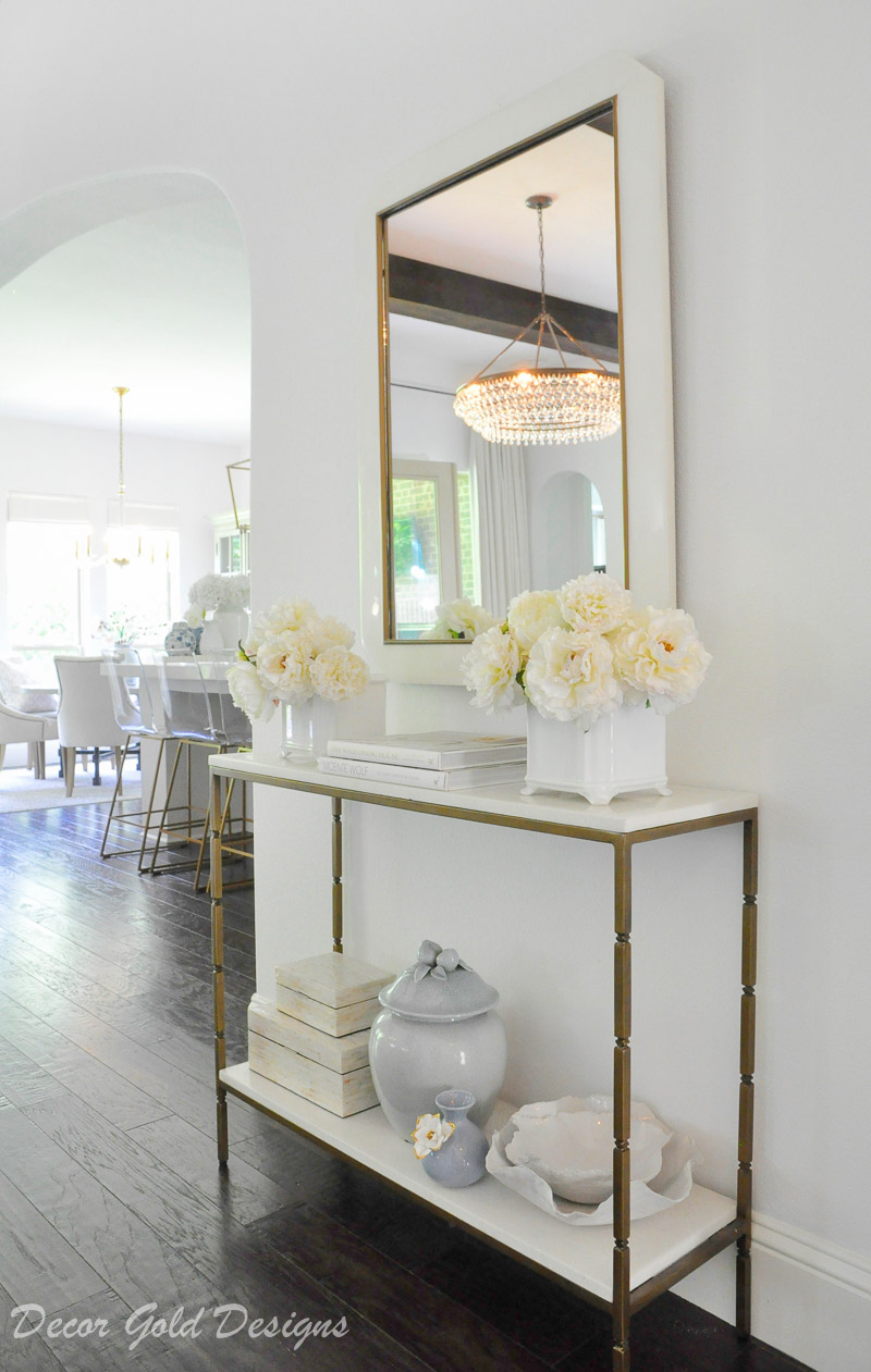 Bright summer home tour styled console table