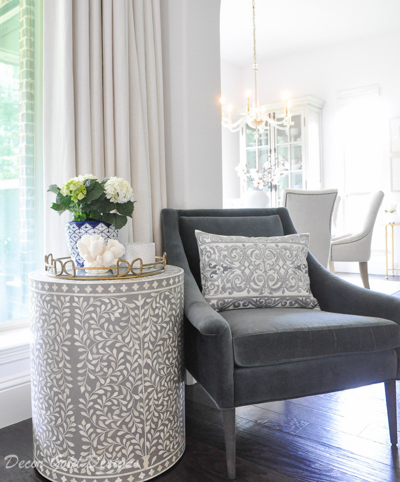 Home tour gray side table blue chair