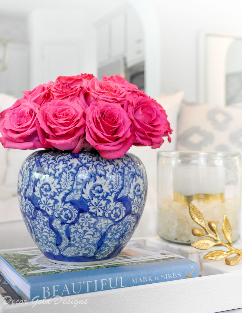 Summer home tour styled ginger jar roses