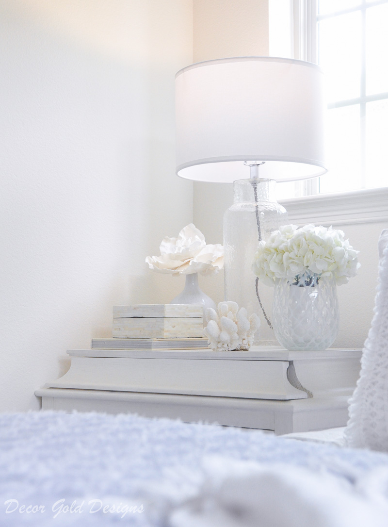 Coastal bedroom nightstand decor