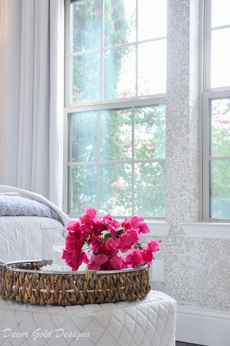 Coastal bedroom whites soft blues bougainvillea