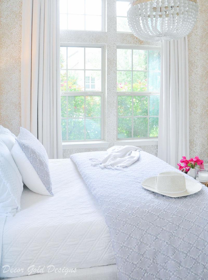 Coastal bedroom whites and soft blues