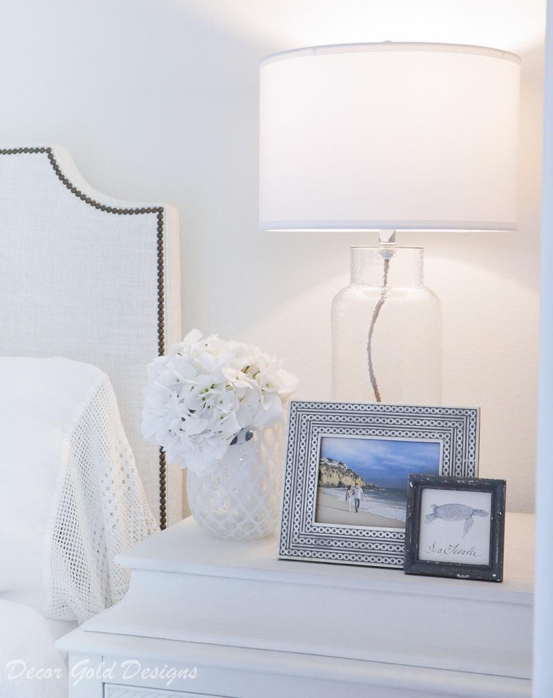Coastal bedroom framed picture glass lamp