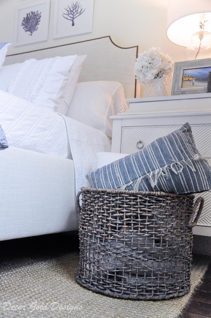 Coastal bedroom whites soft blues basket