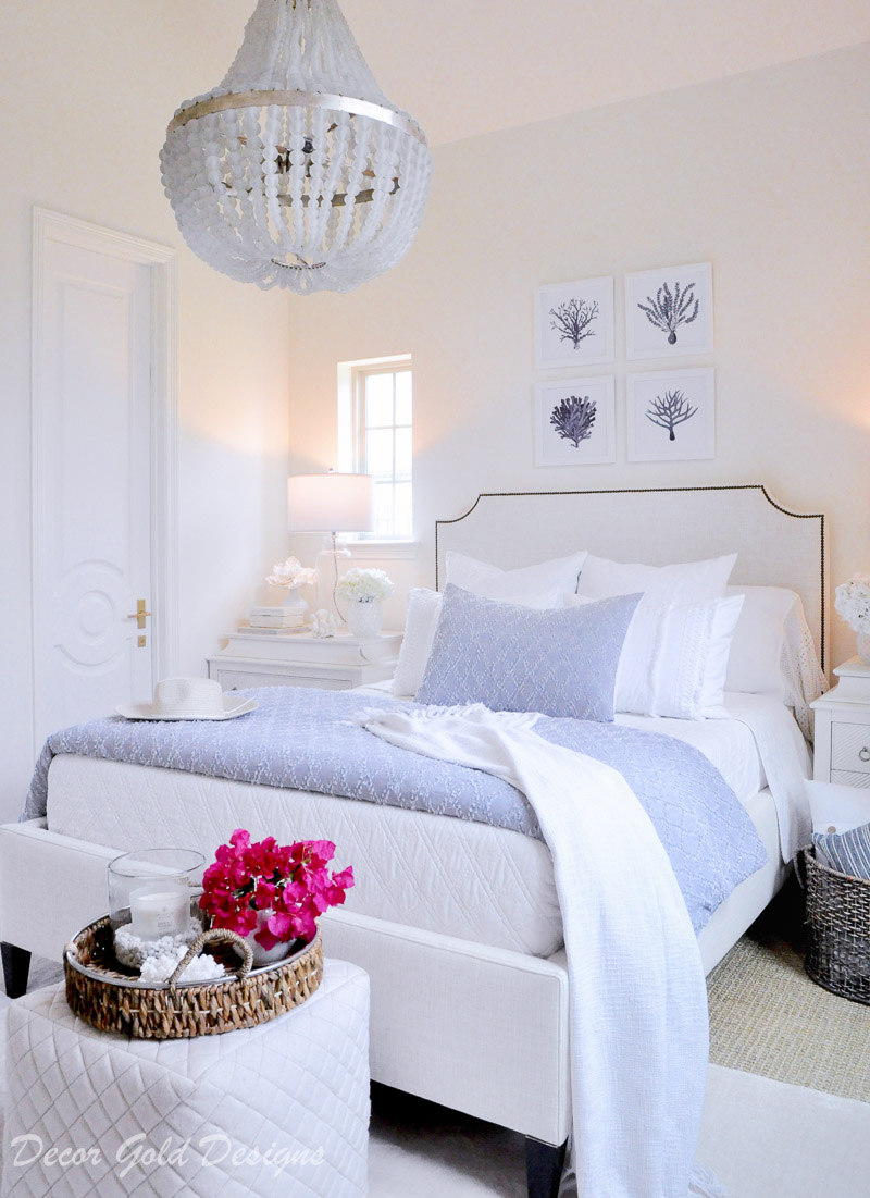 Coastal bedroom with whites soft blues