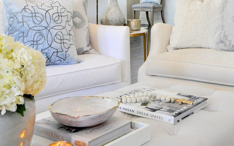 Coffee table styling white living room