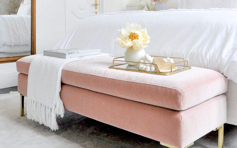 Blush pink velvet bench