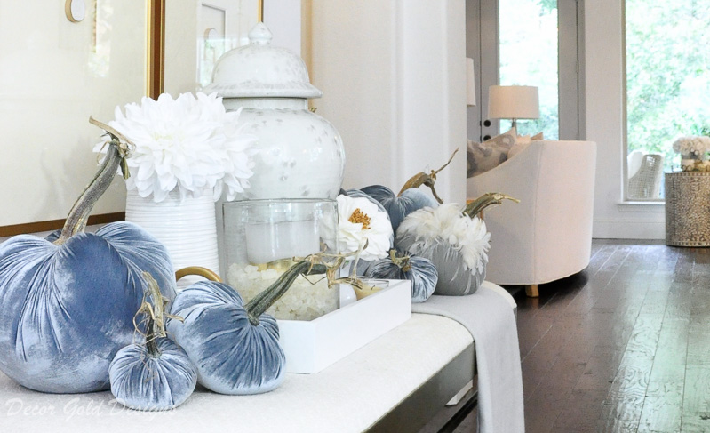 Lovely fall home tour gorgeous blue pumpkins Hotskwash