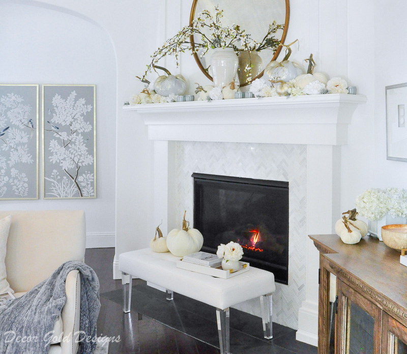 Beautiful fall home tour beautiful living room mantel hearth decor