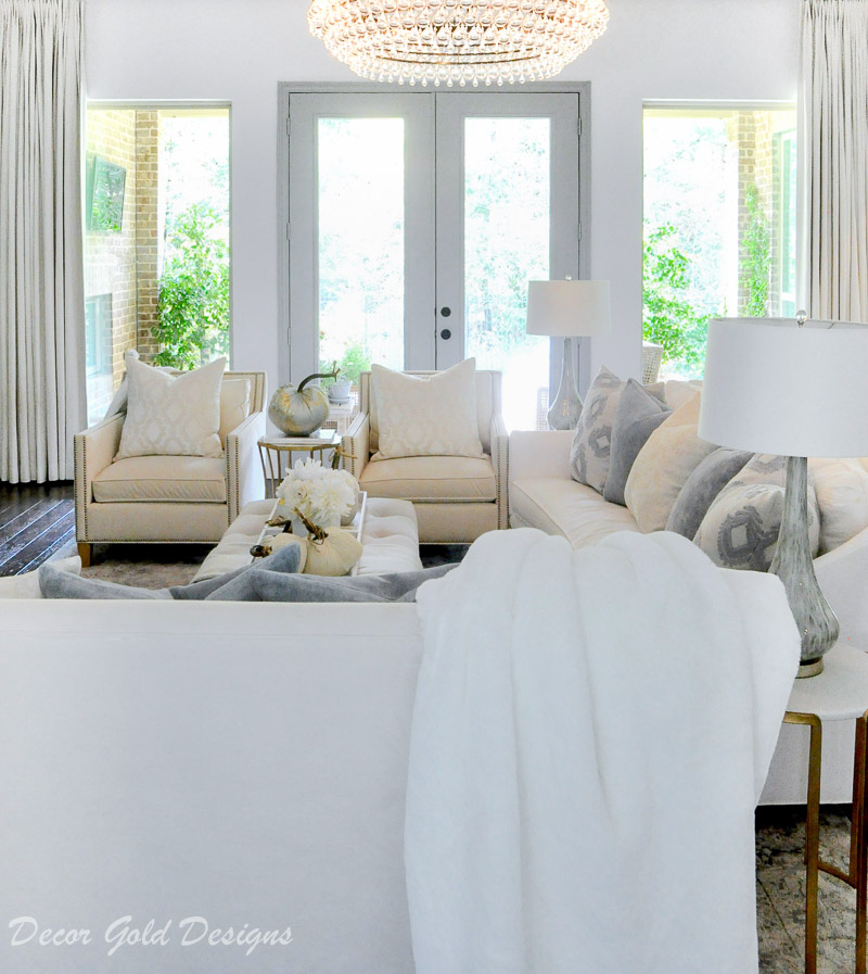 fall home tour bright white living room