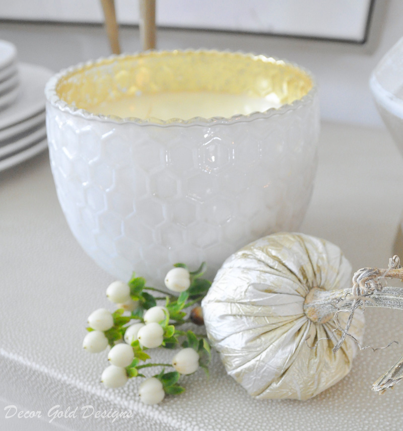 fall home tour dining room candle fabric pumpkin